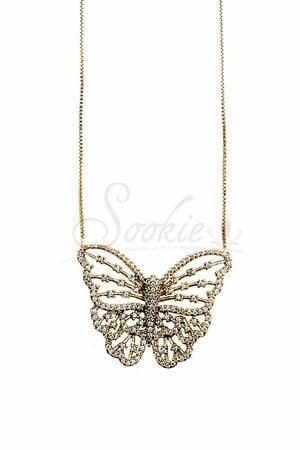 Colar butterfly vazado ouro semijoia