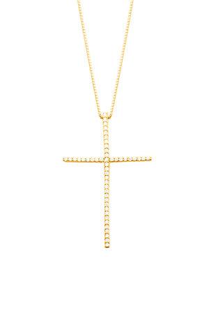 Colar pingente cruz palito ouro semijoia