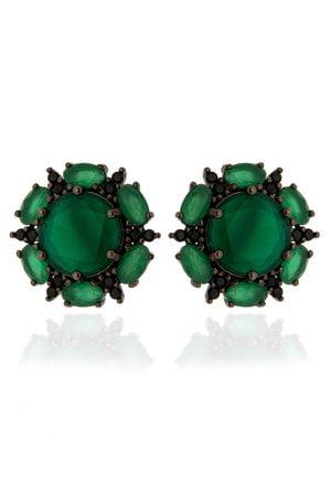 Brinco Flor verde esmeralda em prata 925 decorada com zircônias pretas no banho ródio negro