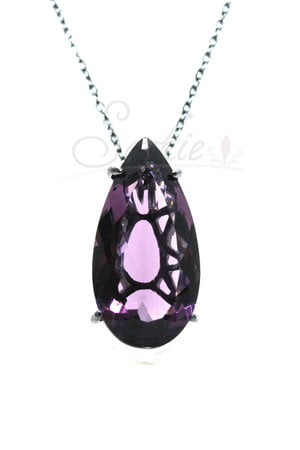 Colar longo Gota Ultra Violeta Ródio Negro Semijoias