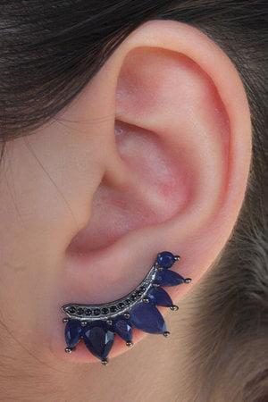 Brinco earcuff azul em prata 925 com banho ródio negro