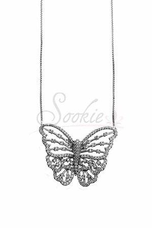 Colar butterfly vazado rodio semijoia
