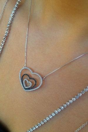 Colar 3 corações Semijoia