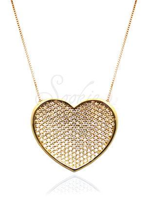Colar Coração Ouro Semijoias