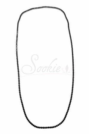 Colar Riviera preta rodio negro- 70cm semijoia
