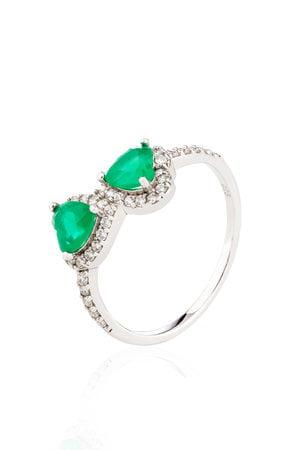 Anel dois corações em prata 925 - Verde esmeralda
