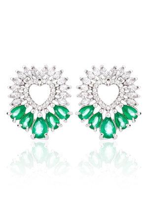 Brinco Coração Navetes na cor Cristal e zircônias verdes semijoia
