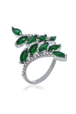 Anel duas fileiras Navetes verde esmeralda com detalhe em zircônias cristais semijoia