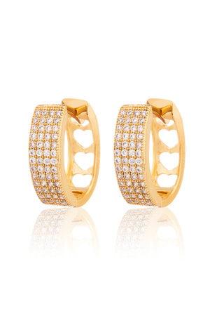 Brinco Argola retangular articulado Dourada com zircônias cristais