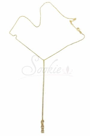 Colar gravata com cristais banho ouro Semijoia