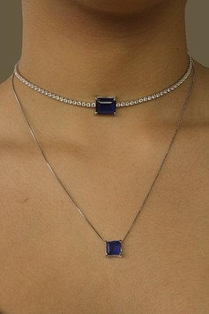 Choker baguete azul safira com rivieras cristais semijoia