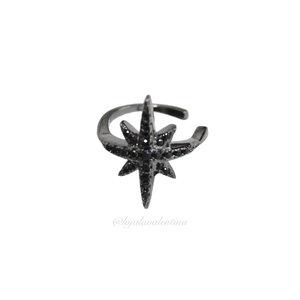 Piercing Fake Prata 925 Estrela Slim Negro (Unitário)