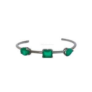 Bracelete Negro Formas Fusion - Esmeralda