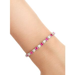 Pulseira Riviera Cubic Branca e Pink