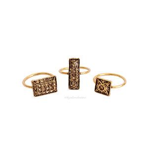 Kit Anéis Quadrados Ouro Vintage