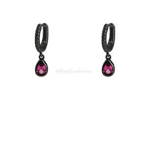 Argolinha Cravejada Negra Turmalina Pink