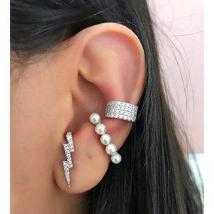 Piercing Ear Hook Prata 925 Pérolas (Unitário)