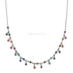 Choker Prata 925 Tiffany Negra Rainbow