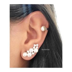 Brinco Ear Cuff Prata 925 Pérolas