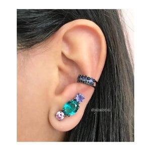 Brinco Ear Cuff Oval Negro Colors