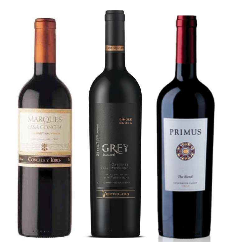 PACK MARQUES GREY PRIMUS (Cabernet): Vino Marques de Casa Concha Cabernet 750cc + Vino Ventisquero Grey Cabernet 750cc + Vino Veramonte Primus The Blend 750cc
