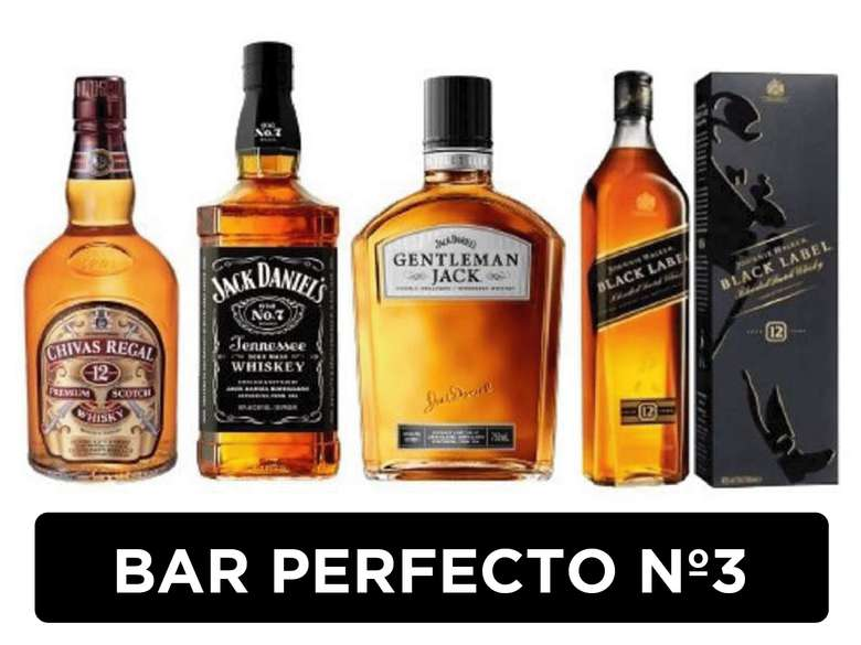 BAR PERFECTO Nº3: Chivas Regal 12 Años + Jack Daniels N7 + Gentleman Jack + Johnnie Walker Black Label