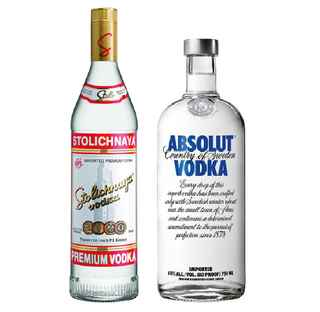 Vodka Stolichnaya 750cc + Vodka Absolut Blue 750cc