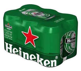 6x Cerveza Heineken Lata 350cc