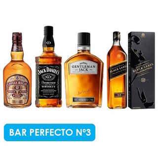 BAR PERFECTO N3: Chivas Regal 12 Años + Jack Daniels N7 + Gentleman Jack + Johnnie Walker Black Label