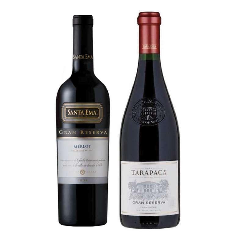 PACK DUO GRAN RESERVA Nº2 (Merlot + Carmenere): Vino Santa Ema Gran Reserva Merlot + Vino Tarapacá Gran Reserva Carmenere