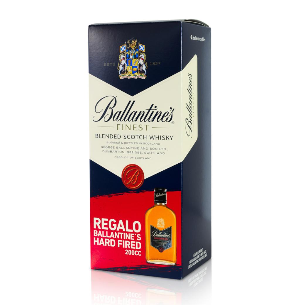 Whisky Ballantines Finest 750cc + Petaca Ballantines Hard Fired 200cc