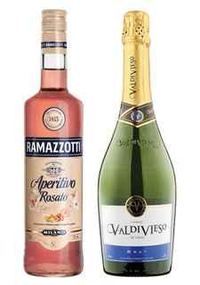 Licor Aperitivo Ramazzotti Rosatto 700cc + Champagne Valdivieso Brut 750cc