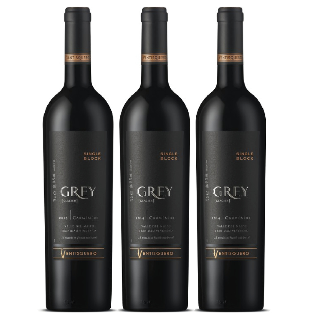 3x Vino Ventisquero Grey Single Block Carmenere 750cc