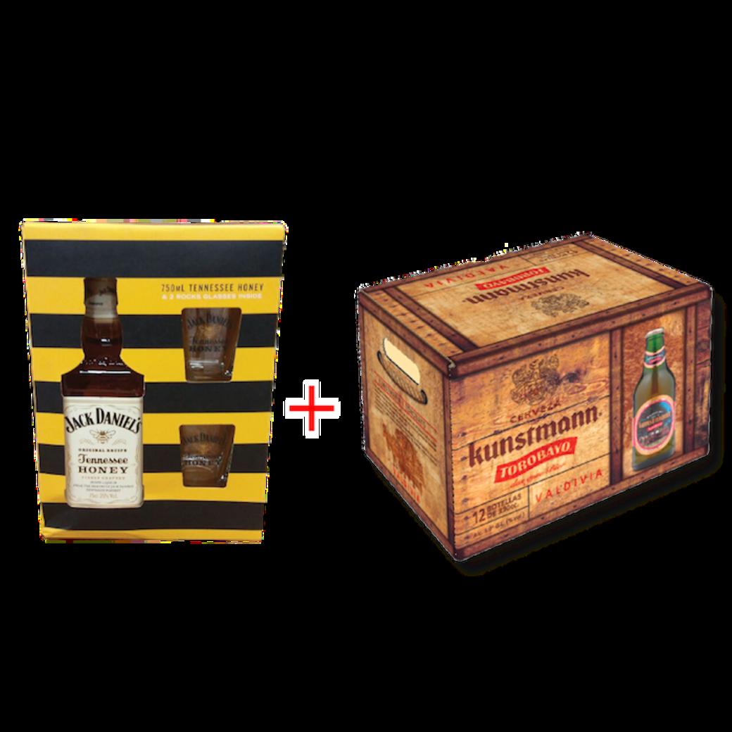 Jack Daniels Honey 750cc + 2 vasos + 12x Kunstmann Torobayo 330cc