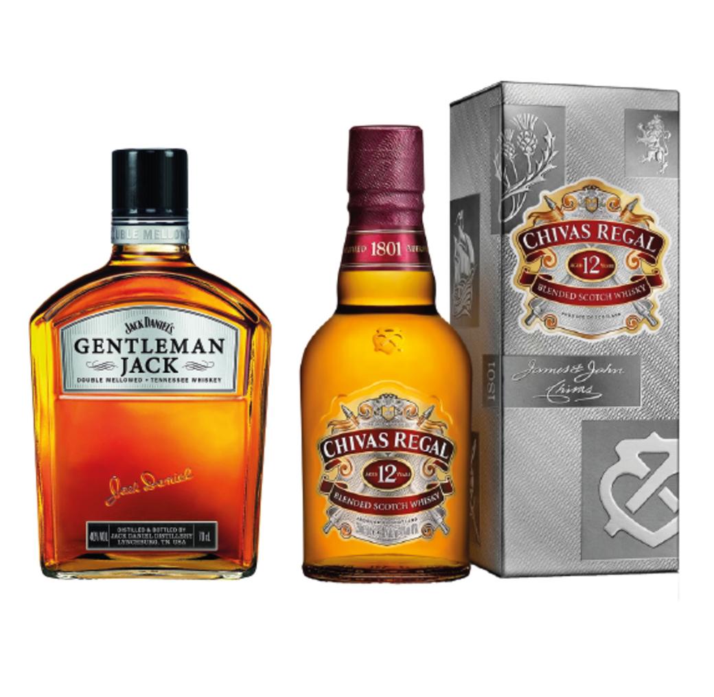 Whiskey Gentleman Jack 750cc + Whisky Chivas Regal 12 años 750cc
