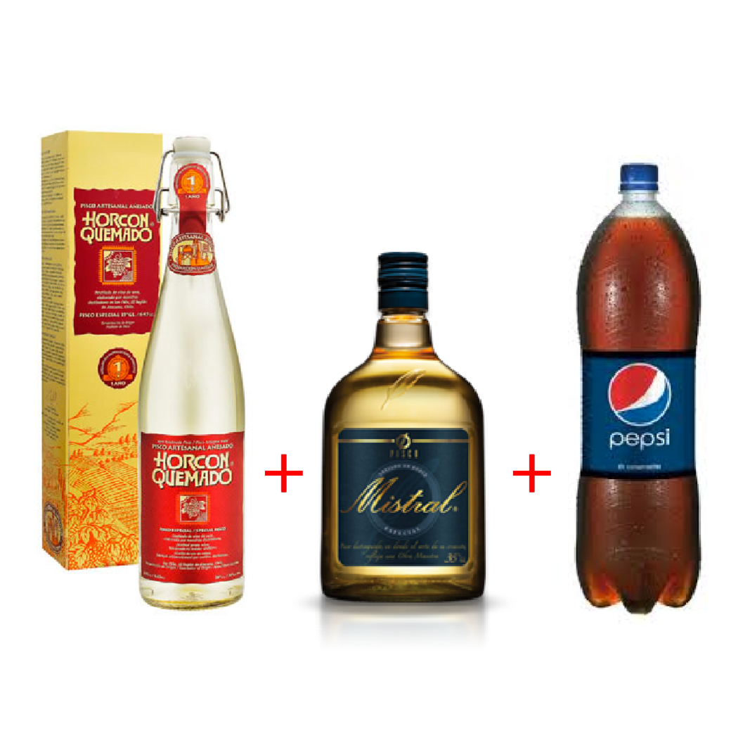 Pisco Horcón Quemado + Pisco Mistral 35 + Pepsi 2.5 lts