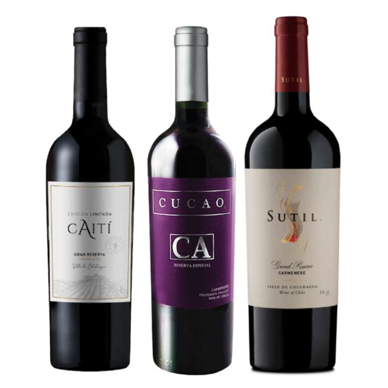 CYBER WINE PACK: Vino Caiti Gran Reserva Carmenere 750cc + Vino Cucao Reserva Carmenere 750cc + Vino Sutil Gran Reserva Carmenere 750cc