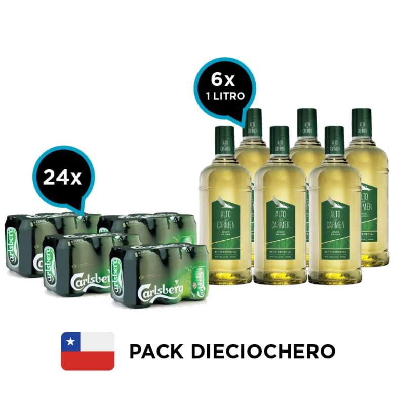 PACK DIECIOCHERO Nº1: 24x Cerveza Carlsberg en Latas 330cc + 6x Pisco Alto del Carmen 35 grados 1 Litro