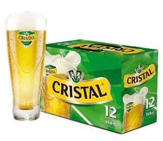 12x Cerveza Cristal en Lata 350cc + Vaso