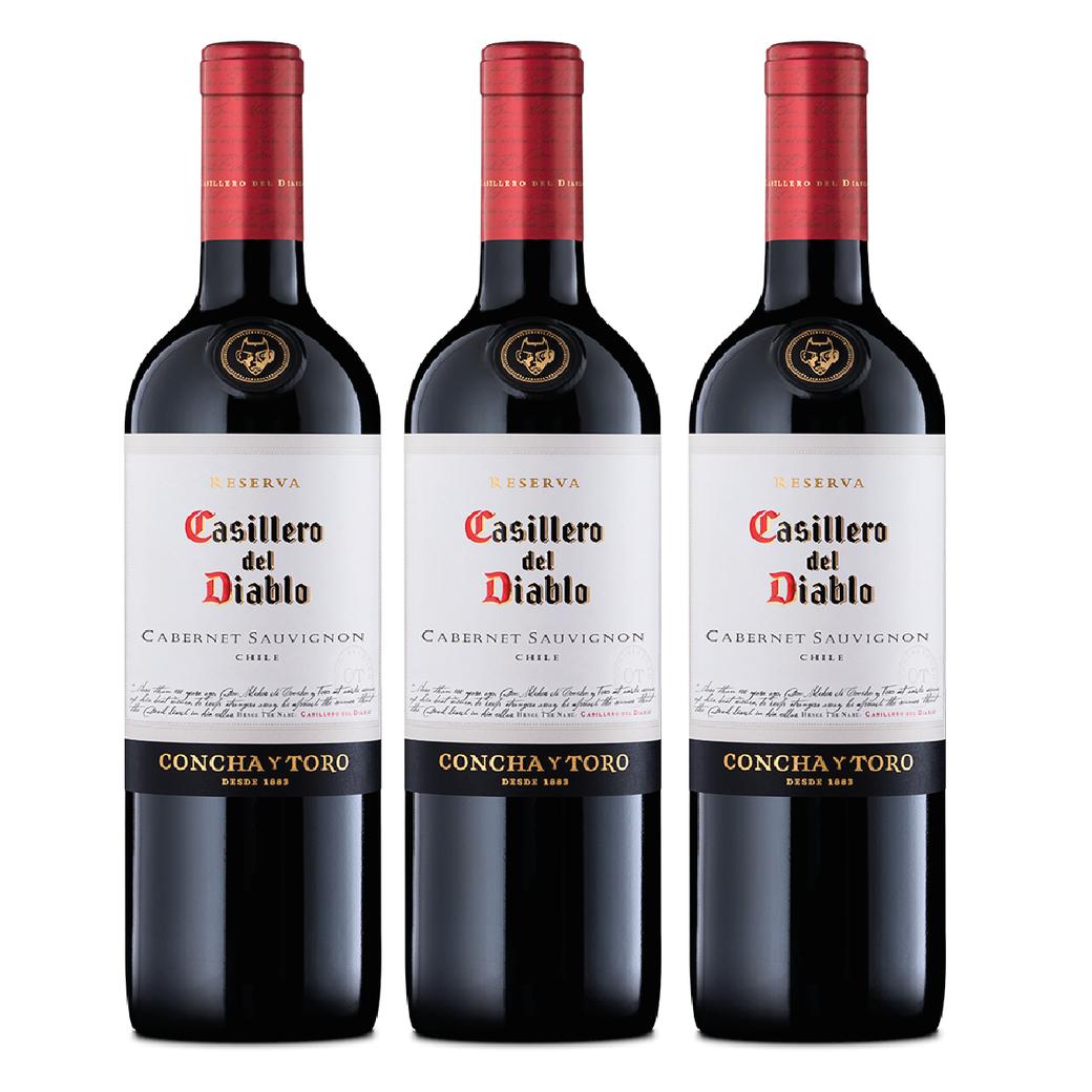 3x Vino Casillero Del Diablo Cabernet Sauvignon 750cc