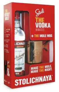 Vodka Stolichnaya 750cc 40º alc. + Vaso Estilo The Mule Mug