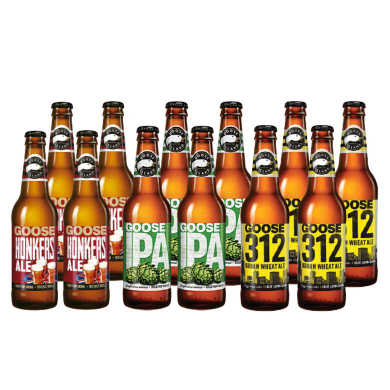 GOOSE PACK: 4x Cerveza Goose Island Honkers Ale en Botellas 355cc + 4x Cerveza Goose Island IPA en Botellas 355cc + 4x Cerveza Goose Island 312 Urban Wheat Ale en Botellas 355cc
