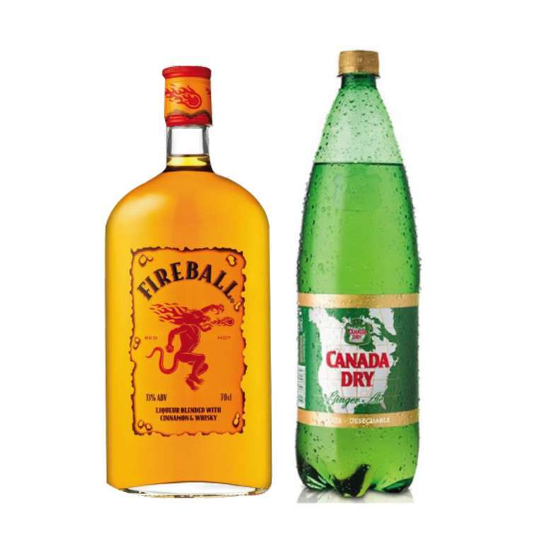 Whiskey Fireball 750cc + Canada Dry Ginger Ale 1.5 Lts.