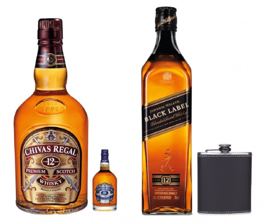 Chivas Regal 12 Años 750cc + Chivas 18 Años Mini 50cc + Johnnie Walker Black Label 750cc + Licorera