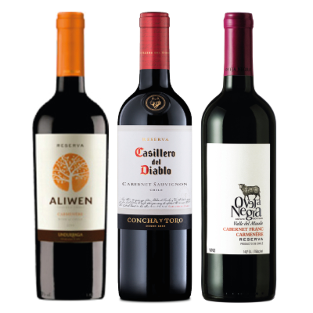 PACK RESERVA: Undurraga Aliwen Carmenere + Casillero Del Diablo Cabernet + Oveja Negra Cabernet Franc / Carmenere