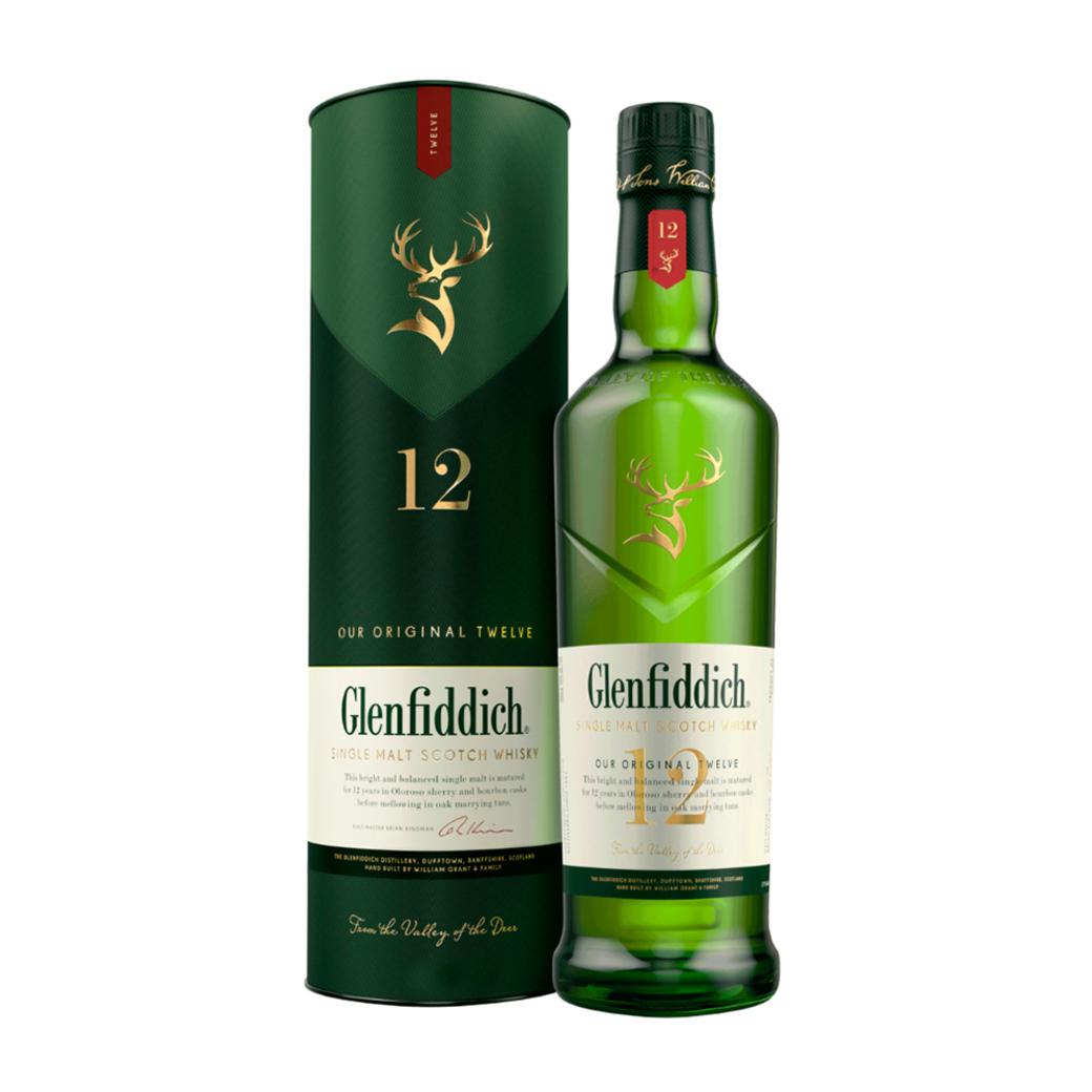 Whisky Glenfiddich 12 años 750cc 40º alc.