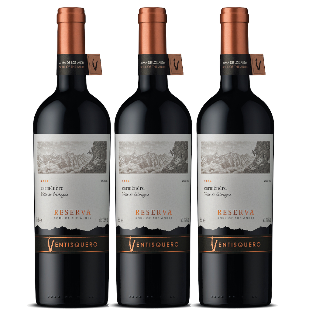3x Vino Ventisquero Reserva Carmenere 750cc