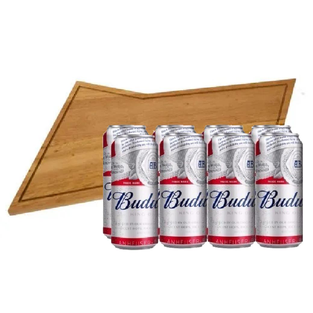BUDWEISER PACK: 8x Cerveza Budweiser en Latas 474cc + Tabla Budweiser