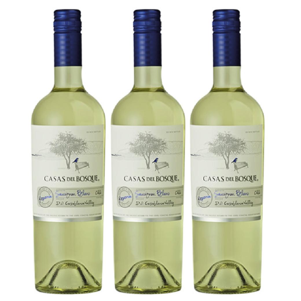 3x Vino Casas Del Bosque Reserva Sauvignon Blanc 750cc