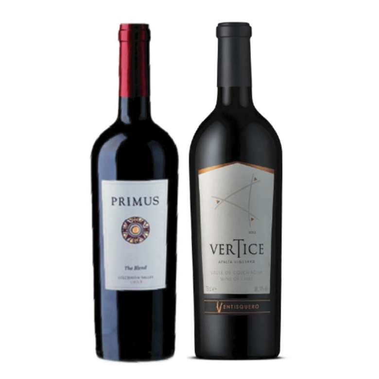 PACK DUO PRIMUS VERTICE:  Vino Veramonte Primus The Blend 750cc + Vino Ventisquero Vértice 750cc